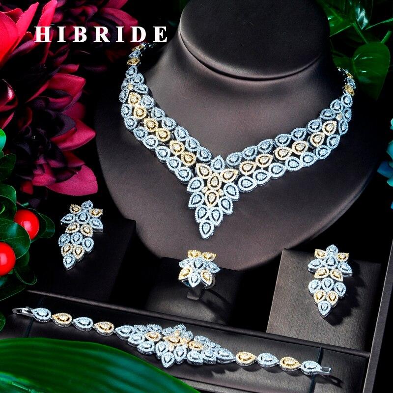 HIBRIDE Mode Neue Design Zirkonia 4 stücke Hochzeit Braut Schmuck Set Glänzende Kupfer Dubai Schmuck Für Damen N 854