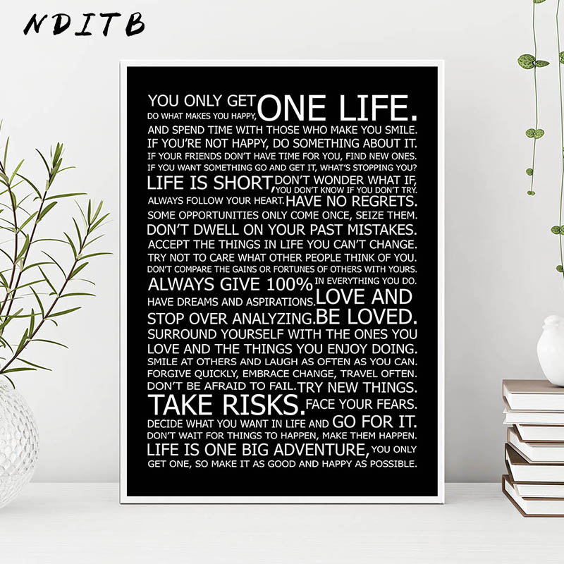 Motivational Life Quotes Canvas Wall Art Poster Black White Print Painting Decorative Picture Modern Home Living Room Decor