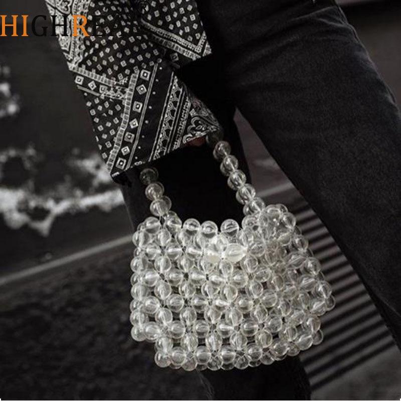 все цены на Fashion Designer Pearls Jelly Transparent Bag Clutch Clear Bag Crossbody Messengers Women crystal Handbag Pouch Evening bag