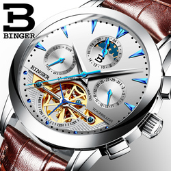 2016 New Military Leather Brand Automatic Self-wind Relogios Masculino Watch Mechanical Fashion BINGER Watch Tourbillon Clock