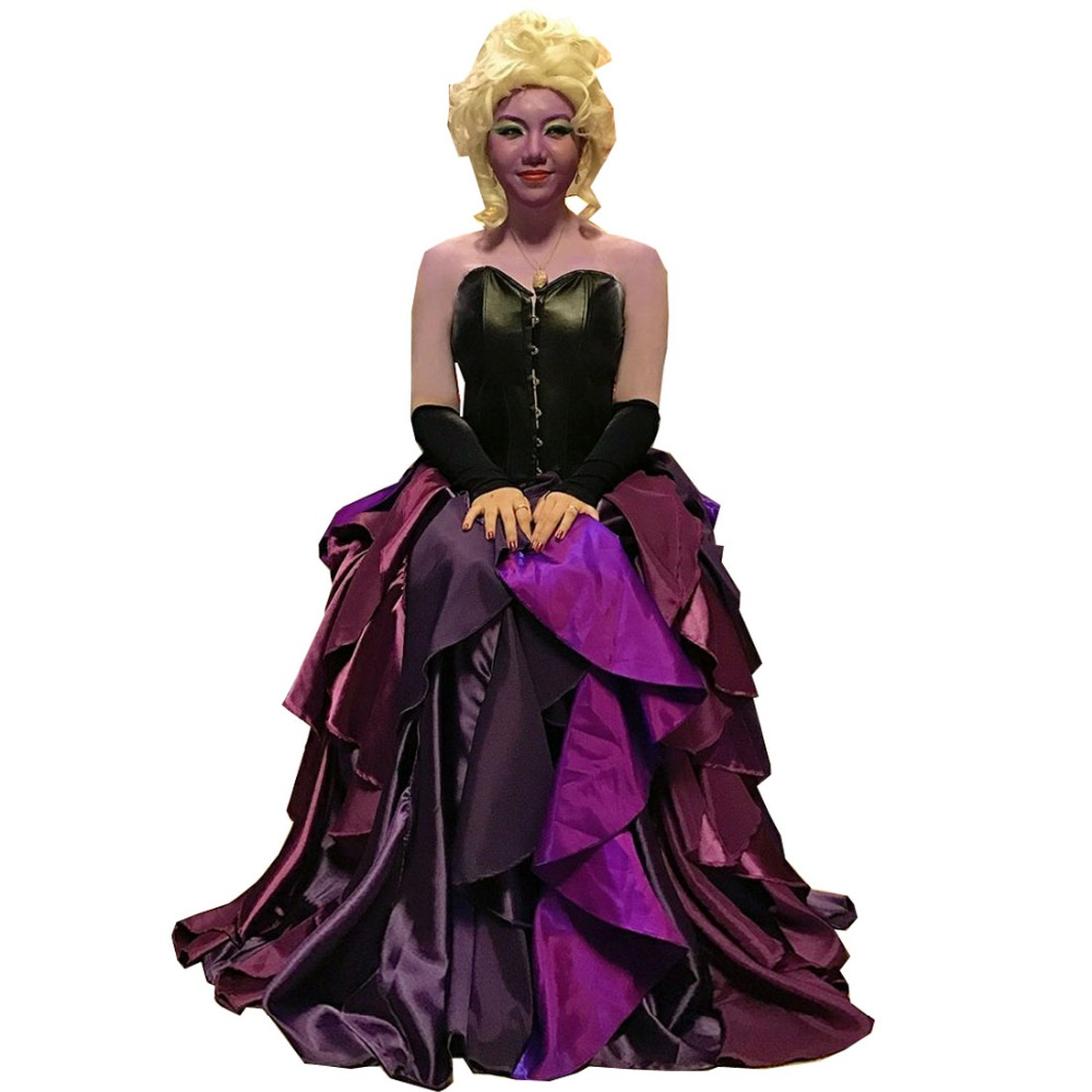 New The Little Mermaid Dress Sea Witch Ursula Princess Dress Cosplay Purple Costume Custom Made