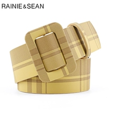 RAINIE SEAN Women Belt No Hole Plaid Yellow Candy Color Pu Leather 2019 New Arrival Wide Female