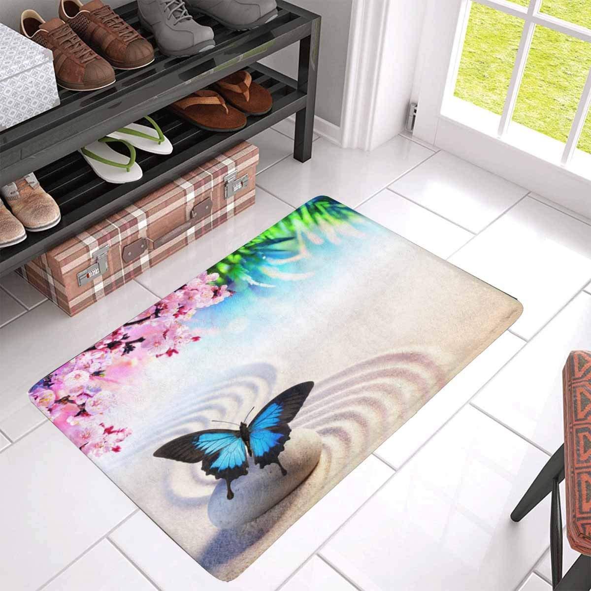 Watercolor Flamingo Palm Round Carpet Non Slip Home Decor Bedroom Zen Yoga Mat