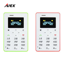 Hottest Mini Card Phone AIEK M5 Color Screen English/Russian/Arabic Keyboard Cell phone 4.5mm Ultra Thin Pocket Mobile Phone(China)