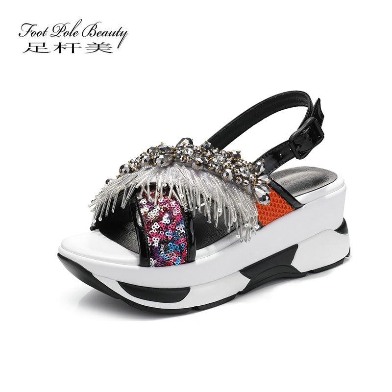 Genuine leather sandals Waterproof platform shoes wedge sandals female summer flat ladies diamond fish mouth Roman