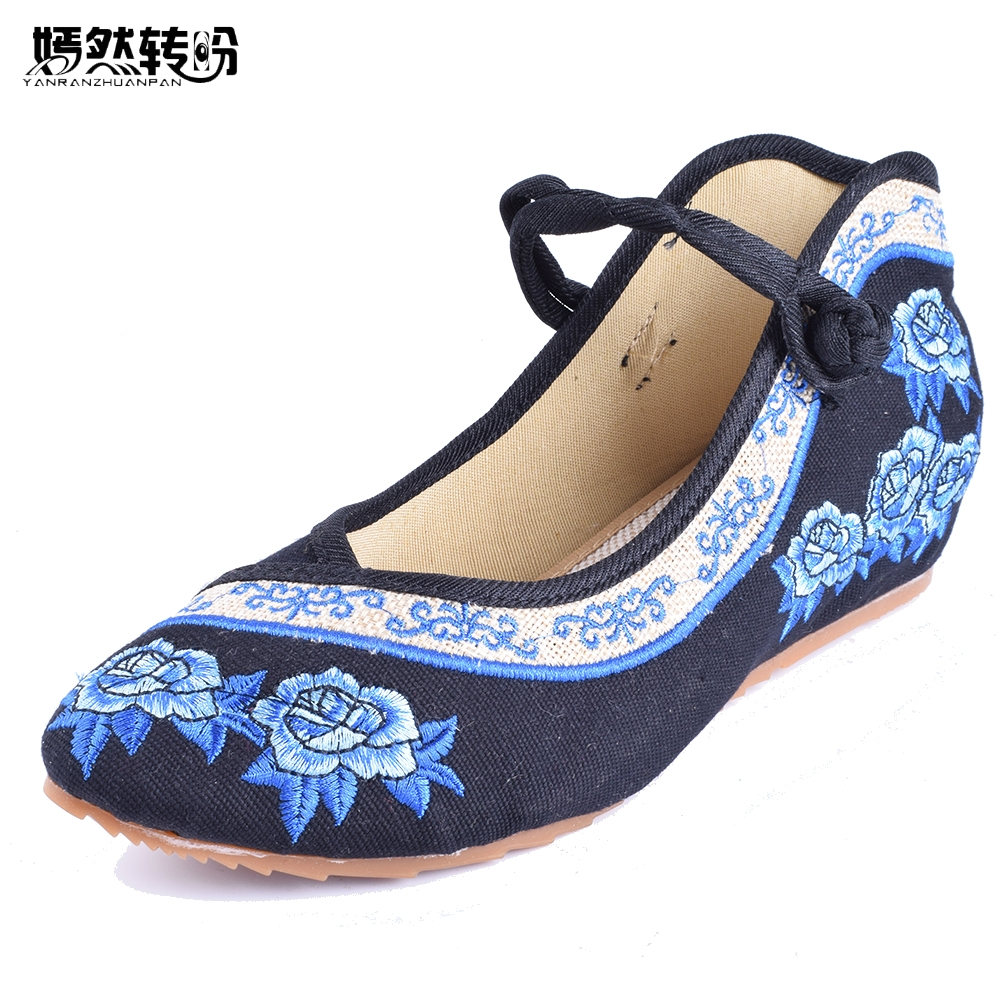 2016 New Spring Women's Singles Old Beijing Pointed Rose Embroidered Shoes Casual Canvas Slope Dance Walking Shoes 35-41 vintage embroidery women flats chinese floral canvas embroidered shoes national old beijing cloth single dance soft flats