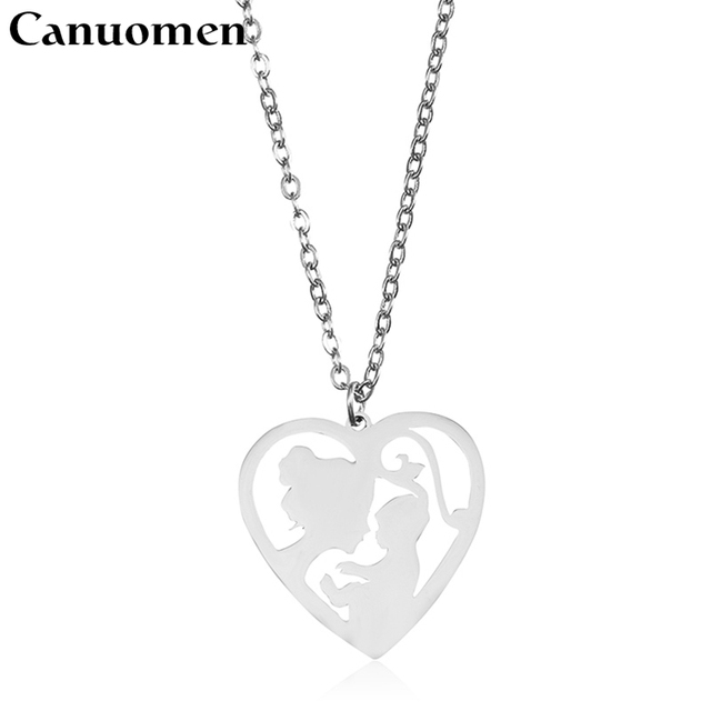 Canuomen mother baby pendant necklace love heart shaped stainless canuomen mother baby pendant necklace love heart shaped stainless steel gold color for mothers day aloadofball Choice Image