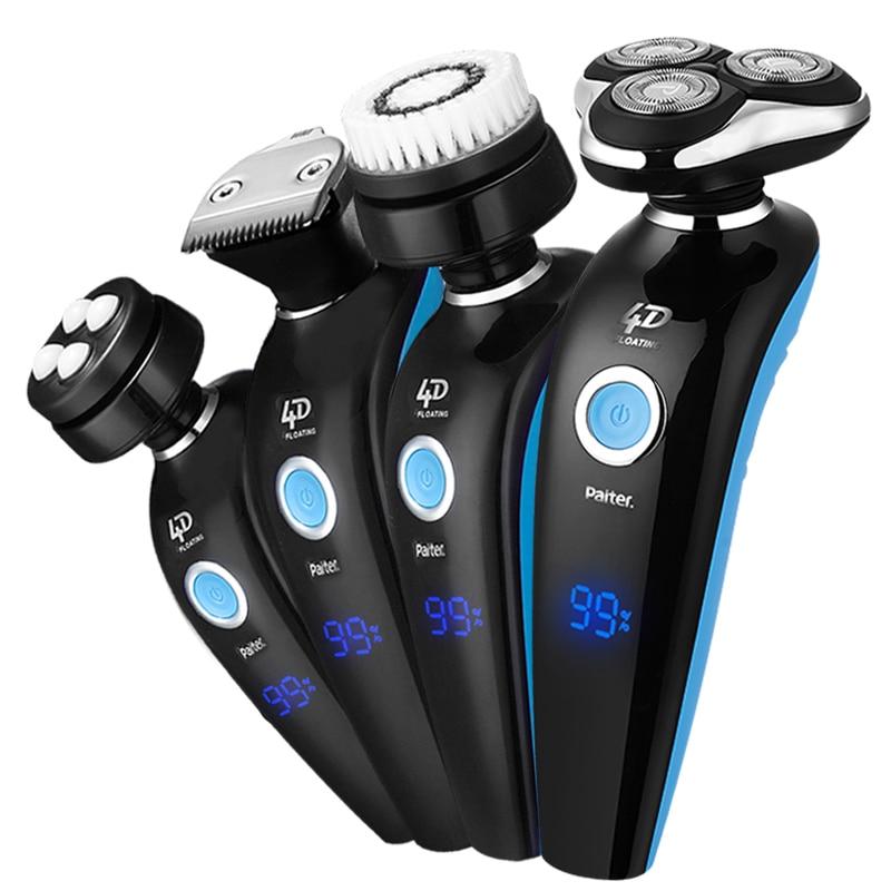 Paiter 4D 4 en 1 rasoir électrique hommes barbe rasage Machine rasoir Rechargeable Charge rapide 1.5 heure Trippe tête Flexible