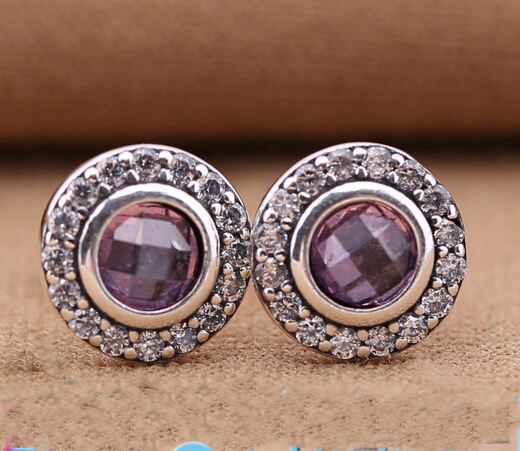 Original 925 Sterling Silver Pink & Clear CZ Brilliant Stud Earrings Compatible With silver Jewelry for women