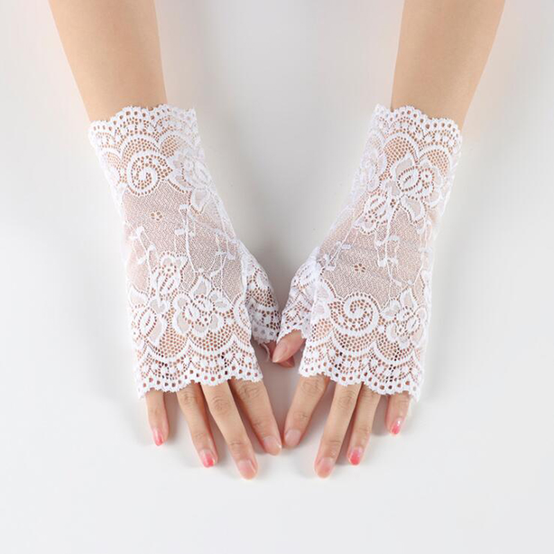 New Summer Women Lace Gloves Figerless Short Driving Gloves Ladies Half Finger Fishnet Luva Sunscreen Party