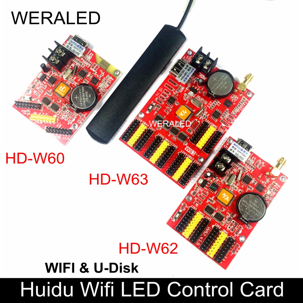WERALED Huidu Asynchronization HD-W60 HD-W62 HD-W63 Wifi & U-Disk Ports Single Color/ Dual Color LED Display Controller
