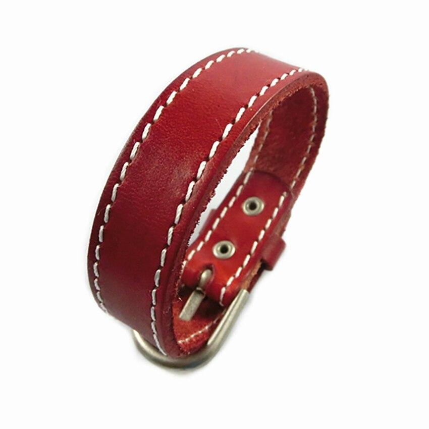 Seanuo 26CM Unisex Men Leather Belt Bracelets & Bangles Adjustable Women Real Leather Wrist cuff Buckle Bracelet Punk Jewelry