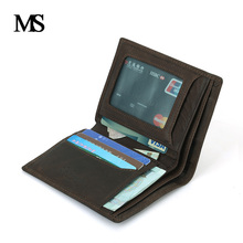 2016 New Men Leather Wallets Famous Brand Luxury Male Small Short Thin Wallet Credit Card Purses Brown TW1655