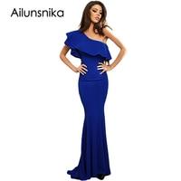 Ailunsinika Blue Ruffle One Shoulder Elegant Mermaid Dress Women Formal Night Party Long Dress Floor Length