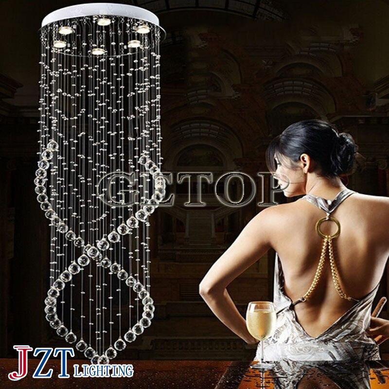 J Best Price K9 Crystal Chandelier Duplex Pendant Lamp For Staircase Villa Luxury Hotel LED Spiral Long Droplight Lighting