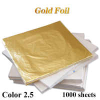 Color 2.5, Imitation Gold Leaf Foil Sheets ,copper leaf ,1000 Leaves - 14 x 14 cm - For Gilding - Art Work, free shipping
