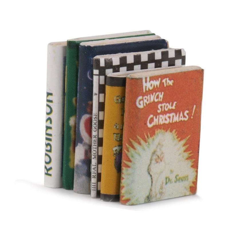 6 Pcs colorful miniature books 1:12 wooden doll house miniature books  ^S