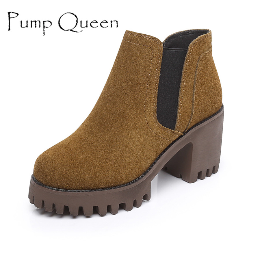 Women Shoes Autumn Winter Cowhide Leather Ankle Boots Fashion Vintage Round Toe Square Hight Heel Chelsea Boots calzado mujer hot sale autumn winter shoes round toe fashion ankle women boots sheepskin all match square high heel