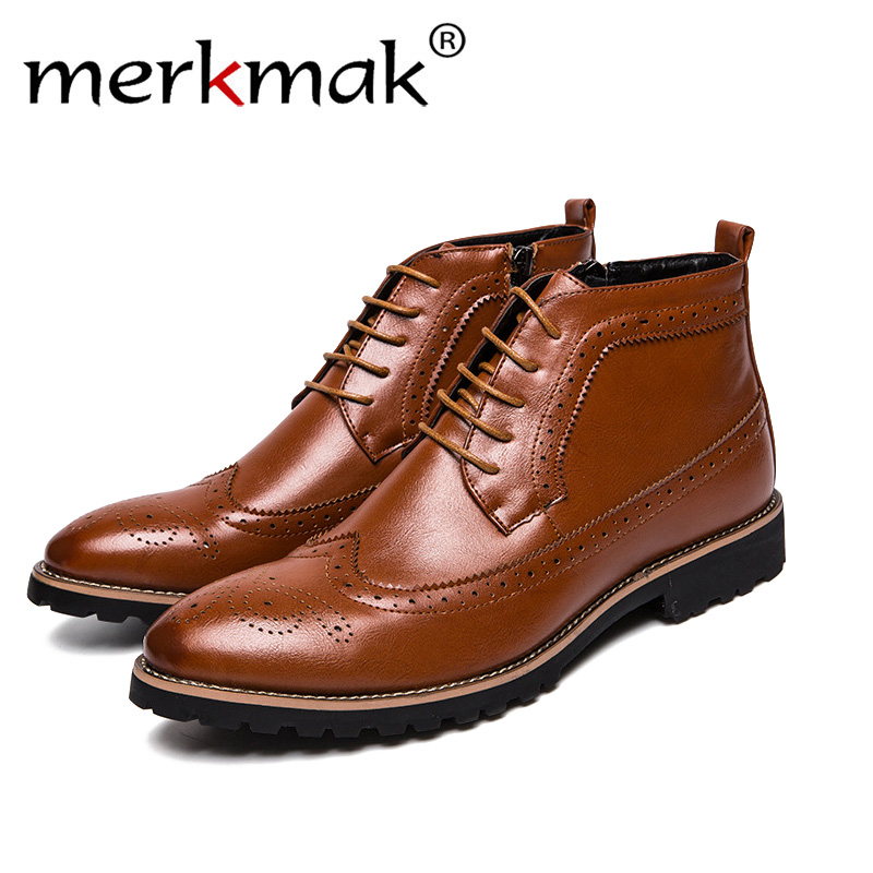 Mermak Genuine Leather Men Boots Autumn Winter Ankle Boots Fashion Footwear Lace Up Shoes Men High Quality Vintage Men Shoes genuine leather men boots autumn winter ankle boots fashion footwear lace up shoes men high quality vintage men shoes qy5