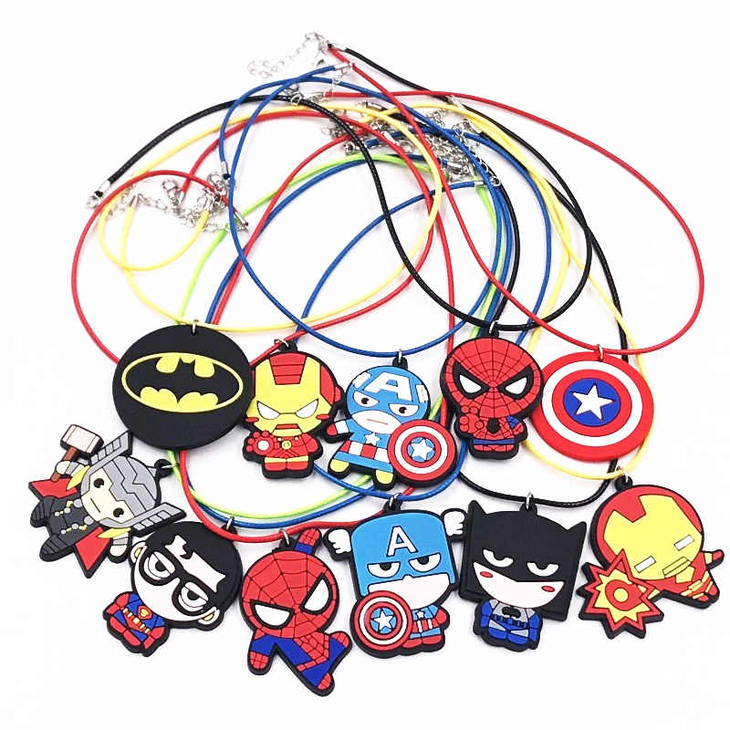 1PCS The Marvel Avengers Fashion Necklace For Boys Birthday Gifts PVC Pendant Jewelry Leather Rope Chain Accessories