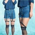 Estilo harajuku mujeres pierna garter gótico hebilla del arnés medias body cage bondage garter underwear discoteca p0073