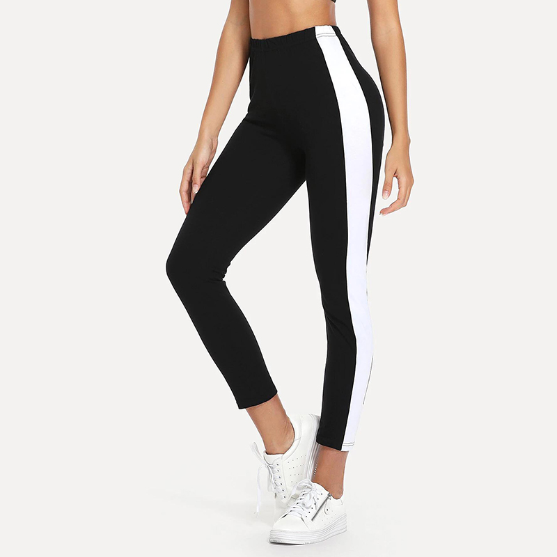 Fitness New Woman Stitching Leggings Pants Workout Fitness Leggings High Waist Black Gothic Compression Printing Casual Trousers