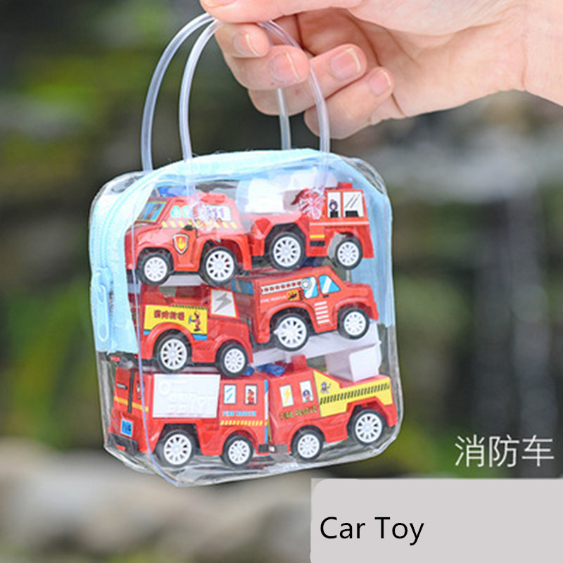 6pcs Pull Back Car Toys Mobile Machinery Construction Vehicle Fire Truck Taxi Model Baby Mini Cars Gift Children In Casts Toy Vehicles From