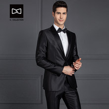 Tailor-made Men Black Shinning Suit Slim fit Wedding Suit Men Tuxedo 2 Pieces Custom Suit(Jacket+Pants) No. SZ160Y3(China)
