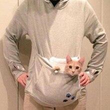 Карман Серый Cat Собак  Повседневная Кофты Толстовка С Уши Neko Atsume Одежда Размер 4XL