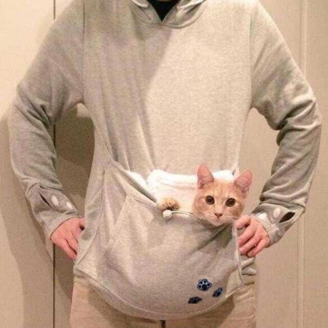 日本の大きなポケットグレー猫犬ペットカジュアルパーカースウェットパーカーで耳猫atsume服ビッグサイズ4xl