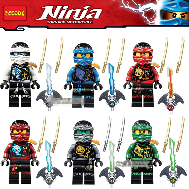 6pcs Ninjago Cole Zane Lloyd Kai Jay Nya Blocks Figures Building