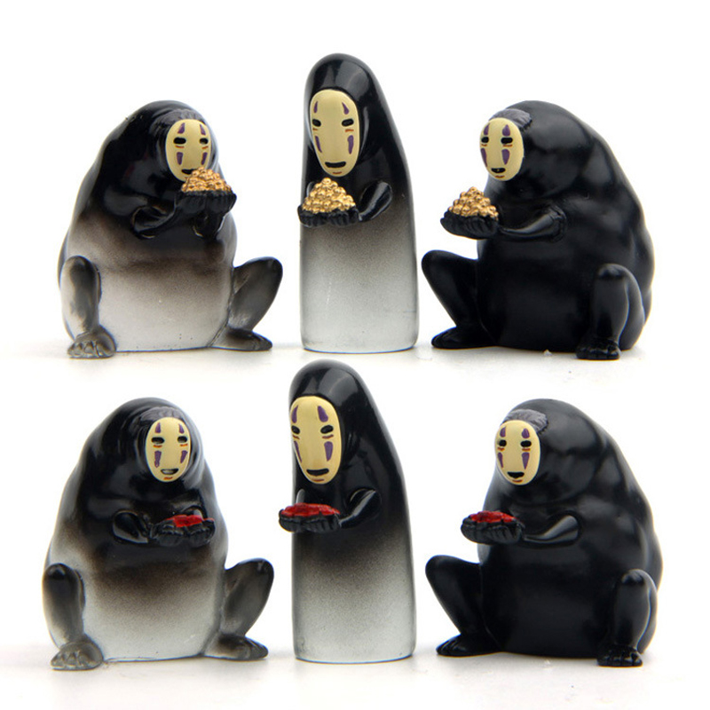 6 Styles Studio Ghibli Miyazaki Hayao Spirited Away No Face Action Figure Toys DIY PVC No Face Cute Figures Collection Model Toy