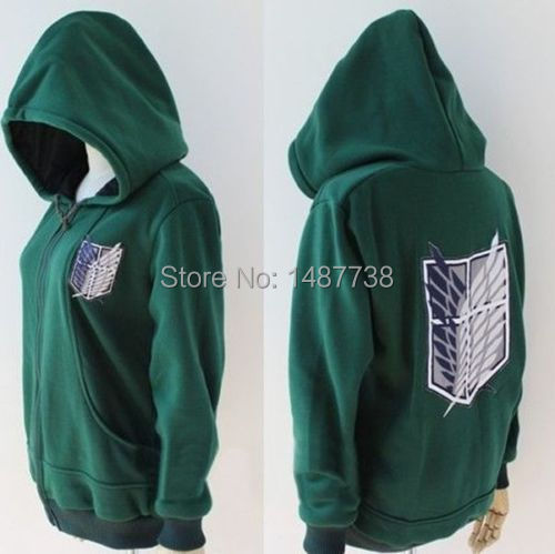 Black Anime Attack on Titan Cosplay Hoodie Scouting Legion Hooded Sweater
