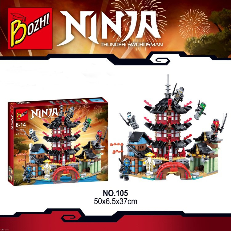 Bozhi Ninja Temple of Airjitzu With KAI /JAY Figures Building Blocks Toys For Children Gifts Compatible With Lego Model Scene ninja temple of airjitzu ninjagoes smaller version bozhi 737 pcs blocks set with lepin toys for kids building bricks legoingly