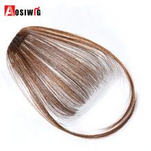 AOSIWIG krótki syntetyczny grzywka syntetyczne hairpieces włosy kobiety naturalne krótkie fałszywe włosy bangs odporne na ciepło tanie tanio Tylko 1 sztuka Clip-in Czysty kolor Włókno wysokotemperaturowe Tępy grzywka