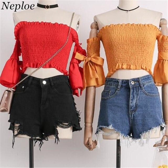 Neploe 2019 קיץ חדש נשים Slim סלאש צוואר חולצה קצר שרוול מוצק כבוי כתף קצר חולצה אופנה קשת יבול צמרות 68056
