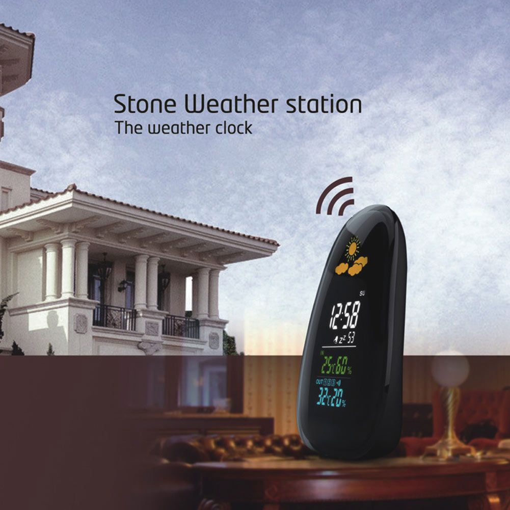 New Arrival Cobblestone Weather Station Wireless Digital LCD Report Humidity Thermometer LED Clock Perpetual Calendar US Plug weather station digital lcd temperature humidity meter