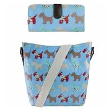 1 Set ( bag + purse )  women men Scottie Dog Oilcloth School  Messenger Satchel Bag Long Coin Purse Wallets 6 kinds of color