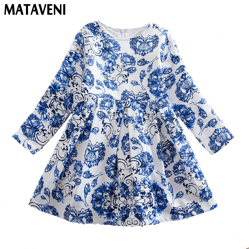 Europe and America Spring Blue And White Porcelain National Style Girls Long-Sleeved Dress