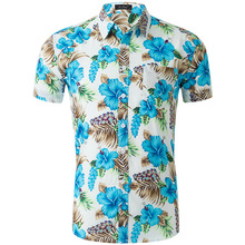 купить Fashion Casual Large Size Cotton Printed Short Sleeve Beach Men Shirt  Turn-down Collar Boy Shirt Holiday Dress дешево