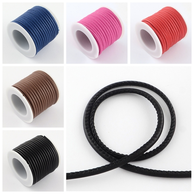Imitation Leather Round Cords with Cotton Jewelry Cords inside, MarineBlue FireBrick Mauve Red DeepPink, 3mm; about 8m/roll