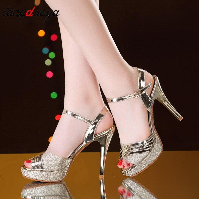 ce4916a0101 Cheap Las mujeres Sexy Peep Toe tacones hebilla sandalias de verano zapatos  de mujer zapatos bombas