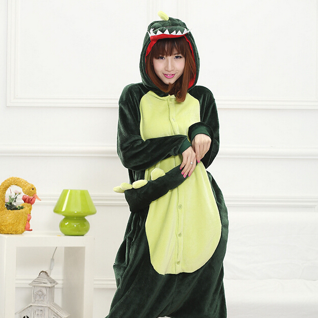 Kigurumi Dinosaur Adults Dinosaur Onesie Pajamas Cosplay Costume Pink Green Jurassic Park Dinosaur Animal Cartoon Party Pyjamas