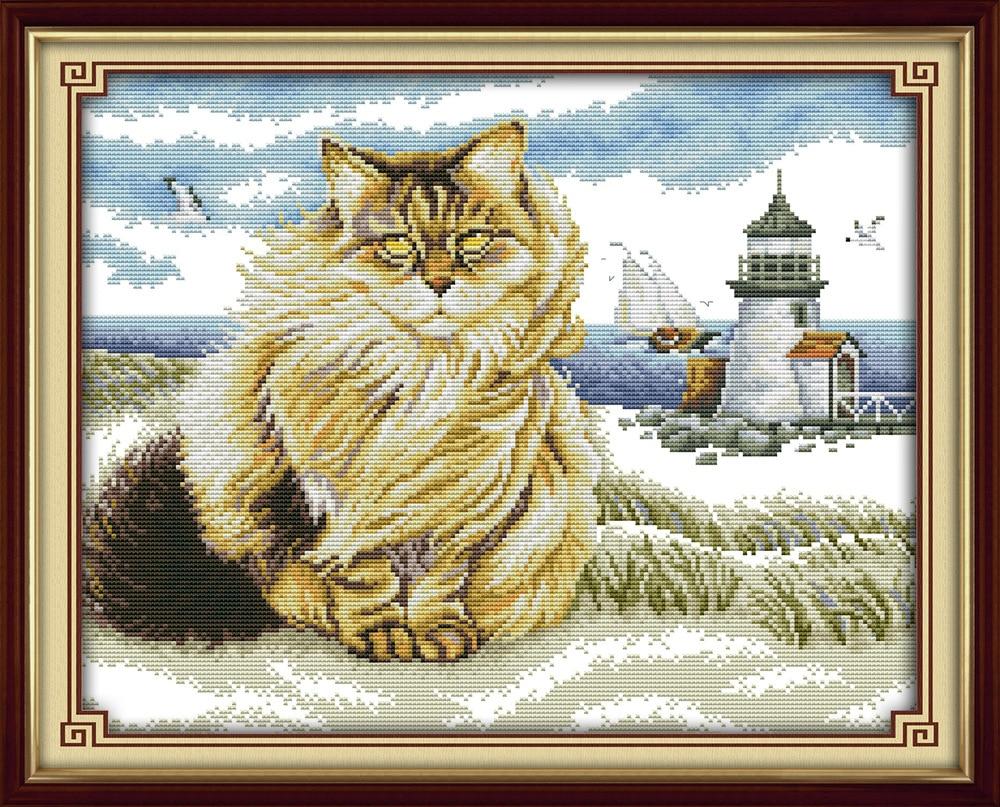 A Fat cat di pantai Kanvas DMC Dihitung Cross Stitch Kit dicetak Cross-stitch set Bordir Menjahit
