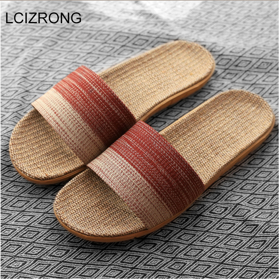 New Unisex Linen Slippers Men Women Non-slip 35-45 Size 7 Colors Gradient Stripe Beach Flat Shoes Male Slides Home Slipper