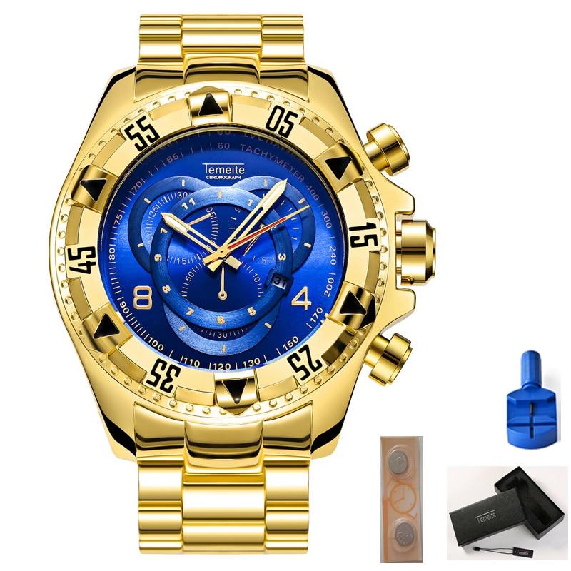temeite luxury mens watches gold blue stainless steel quartz waterproof calendar big dial man wristwatches Gift box battery tool
