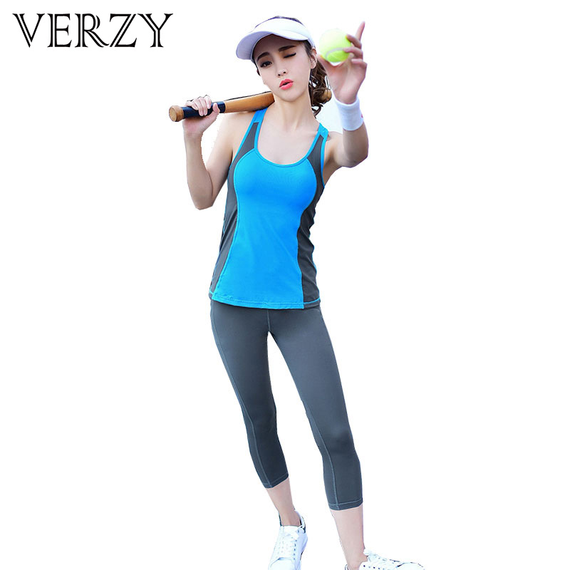 Women's Yoga Sets Two-piece Vest+nine Cents Pants Comfortable Slim Fitness Breathable Quick Dry Colorful Solid Female Sportswear