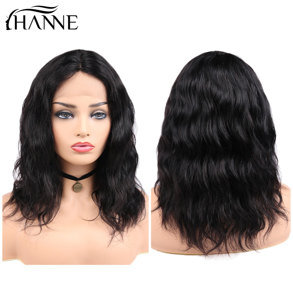 HANNE Hair Brazilian Lace Front Human Hair Wigs Pre Plucked Remy Natural Wave Short Lace Wigs 1b# Color For Women 12-16inches