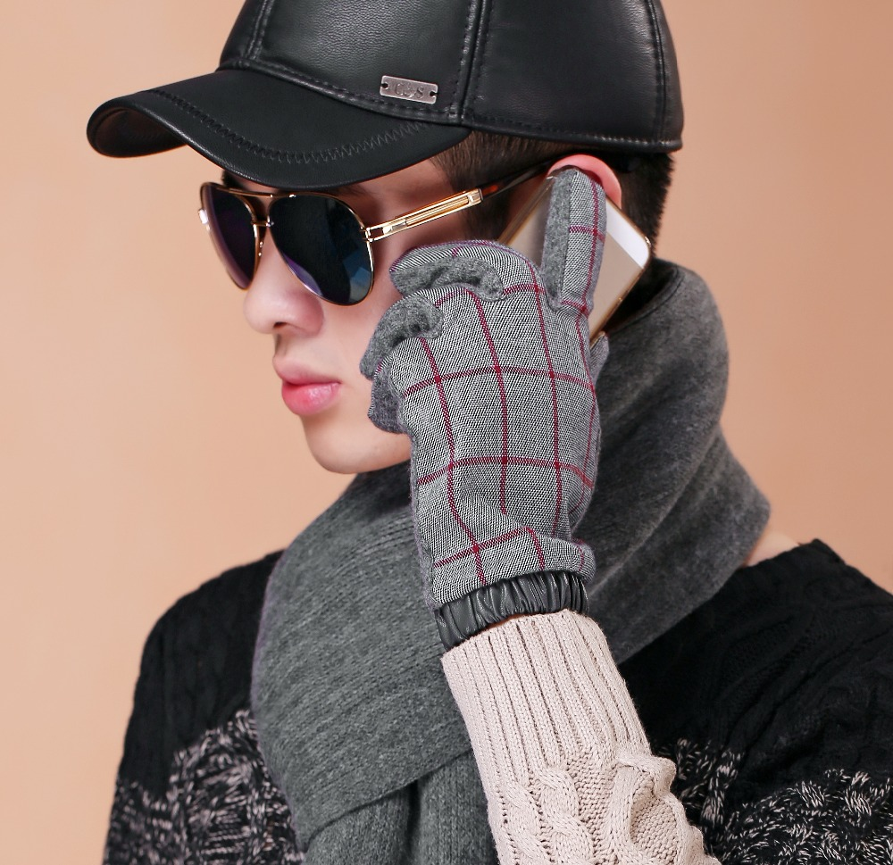 Mens winter gloves xxl - Pigskin Gloves High Quality Winter Men S Leather Gloves For Men Mittensthicken Fleece Warm Long Gloves Male