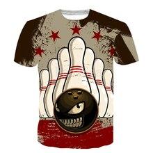 Популярные спортивные, для боулинга, полноразмерная 3D-печать, модная футболка, 3D принт, хип-хоп стиль, футболка, уличная, повседневная, летняя
